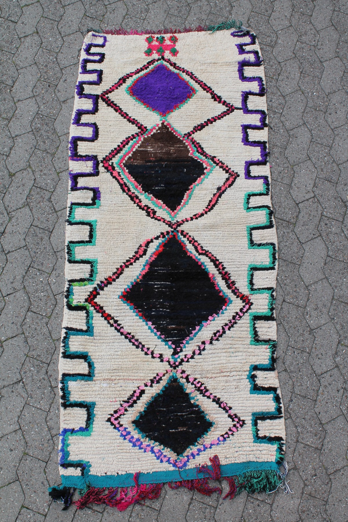 Boucherouite-tæppe-85-x-210-cm