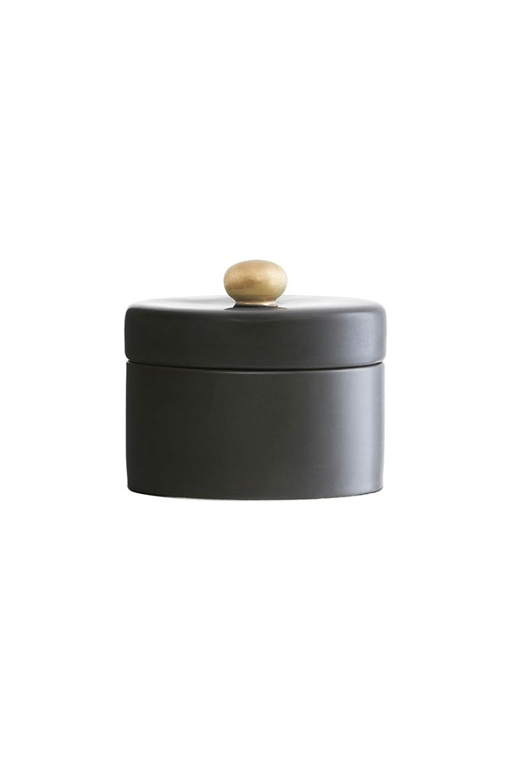 Sort lågkrukke med guldknop