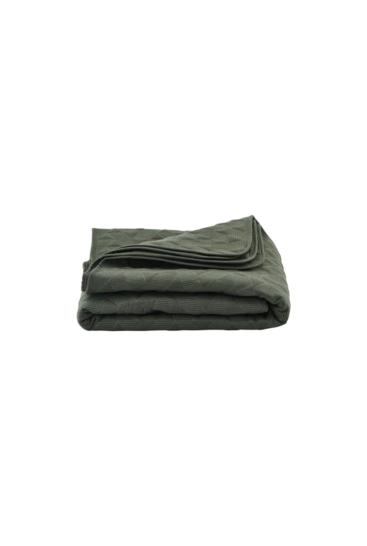 Sengetæppe 140x220 i armygrøn