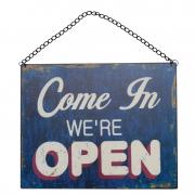 Metalskilt med open og closed