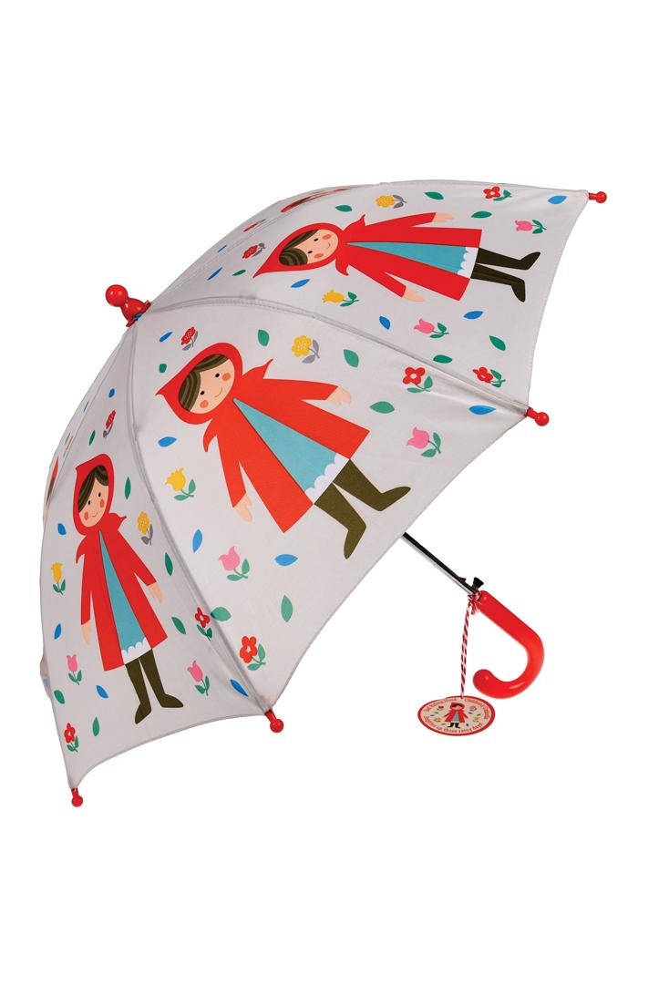 Børne paraply med rødhætte slået op