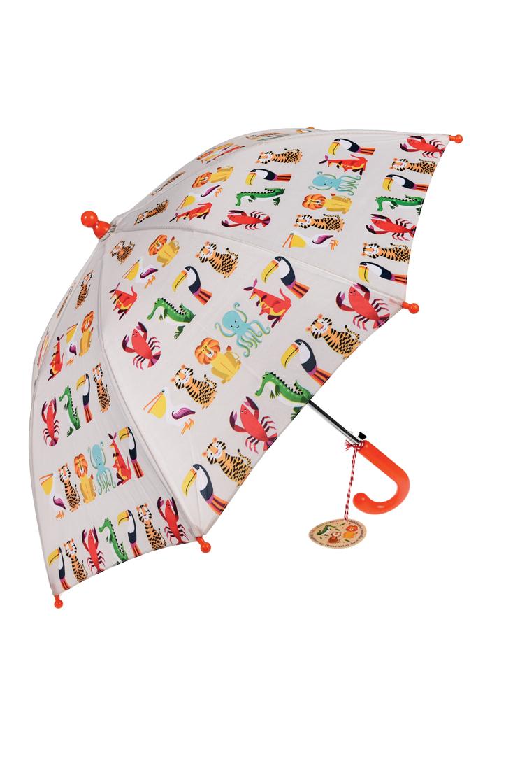 Børneparaply med dyr slået op