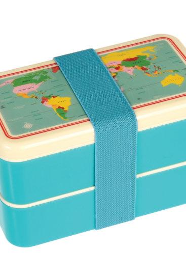 Bento box med print af verdenskort