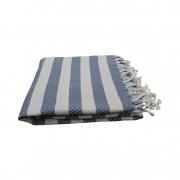 Hammam-haandklaede-blaa-og-hvid-strib-foldet