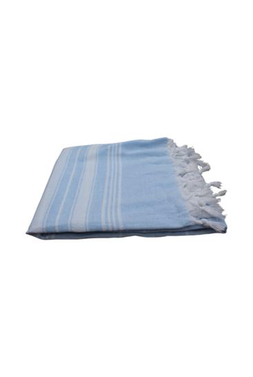 Hammam-haandklaede-lys-blaa-med-hvide-striber-foldet