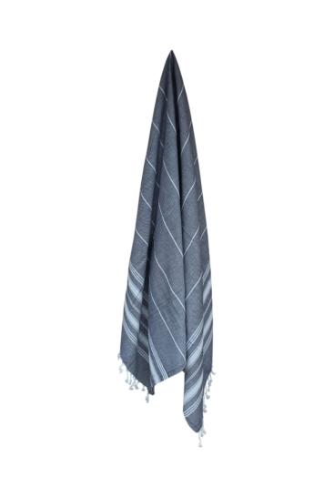 Hammam-haandklaede-moerk-graa-med-hvide-striber