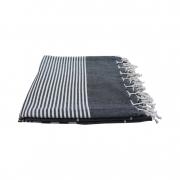 Hammam-haandklaede-sort-med-offwhite-striber-foldet