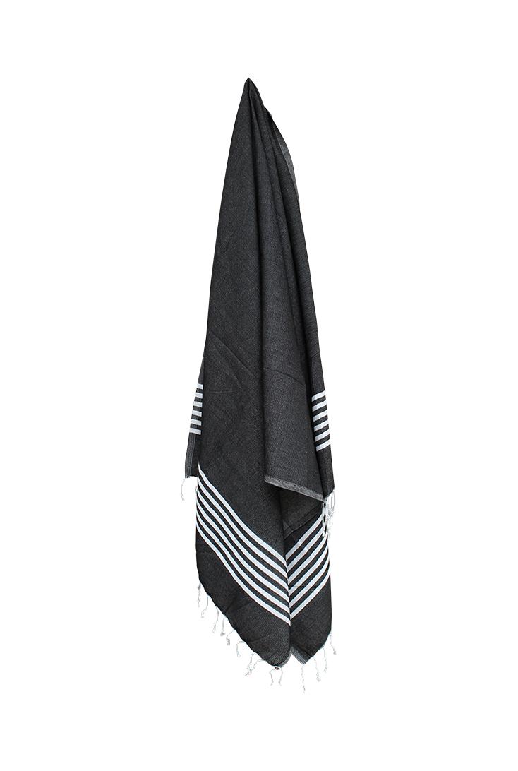 Hammam-haandklaede-sort-med-hvide-striber