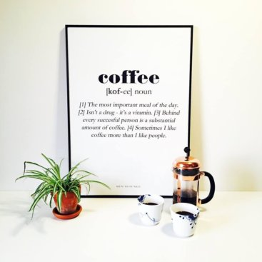 Billede-af-kaffe-plakat-paa-vaeg