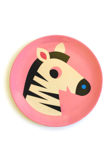 Melamin-tallerken-pink-zebra