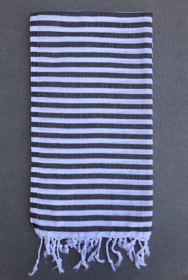 sort-og-hvid-stribet-hammam-haandklaede