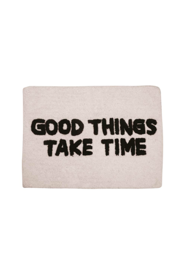Cool-bademaatte-med-teksten-good-things-take-time