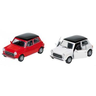 Lille-modelbil-af-mini-cooper-1300-i-roed-og-hvid