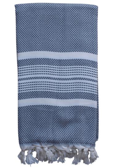 Hammam-haandklaede-med-sildebensmoenster-i-graa-og-hvid