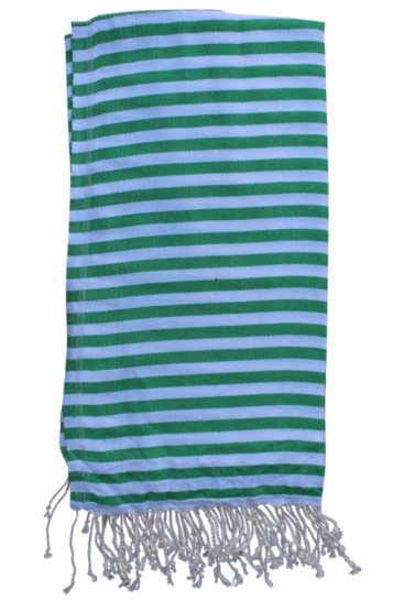 hammam-haandklaede-med-ens-striber-i-groen-og-hvid