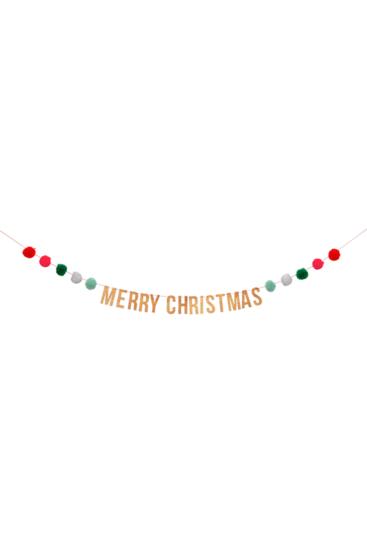Guirlande-merry-christmas-med-pom-pom'er