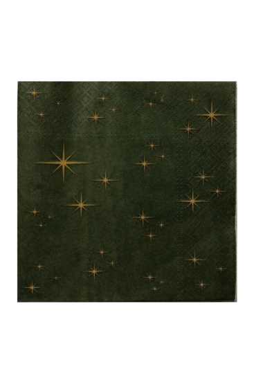 Moerkegroen-juleserviet-med-guldstjerner