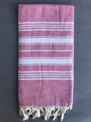 Pink-hammam-haandklaede-med-hvide-striber